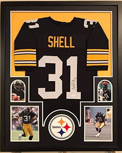 FRAMED DONNIE SHELL AUTOGRAPHED SIGNED PITTSBURGH STEELERS JERSEY ...