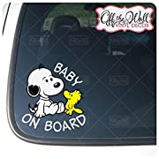 Baby Snoopy Dog  BABY ON BOARD  Sign Vinyl Decal Sticker for Cars / Trucks
