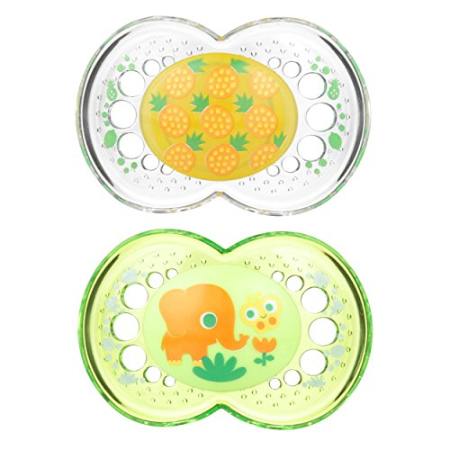 MAM Pacifiers, Baby Pacifier 6+ Months, Best Pacifier for Breastfed Babies, Crystal Design Collection, Unisex, 2-Count