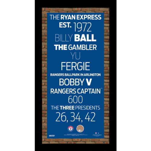 MLB Texas Rangers Subway Sign Wall Art with Authentic Dirt from Rangers Ballpark in Arlington, 9.5x19-Inch (Frame Texas Glass Rangers Art)