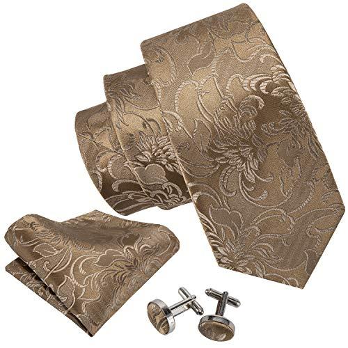Tan Mens Tie - Solid Ties for Men Woven Silk Flower Tie Handkerchief Cufflinks Formal