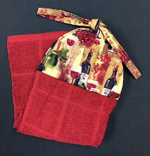 Wine Splendor Glasses and Bottles Hanging Kitchen Hand Towel with Ties 18 x 6-1/2