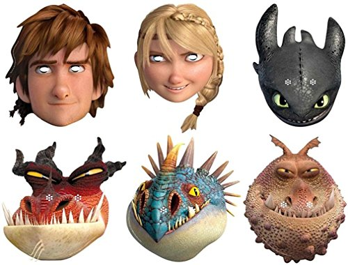 Multipack - 6 Official How to Train Your Dragon 2 Face Masks - Two Face Costume Uk