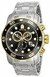 Invicta Mens Pro Diver Scuba Swiss Chronograph Black Dial Stainless Steel Bracelet Watch 80039
