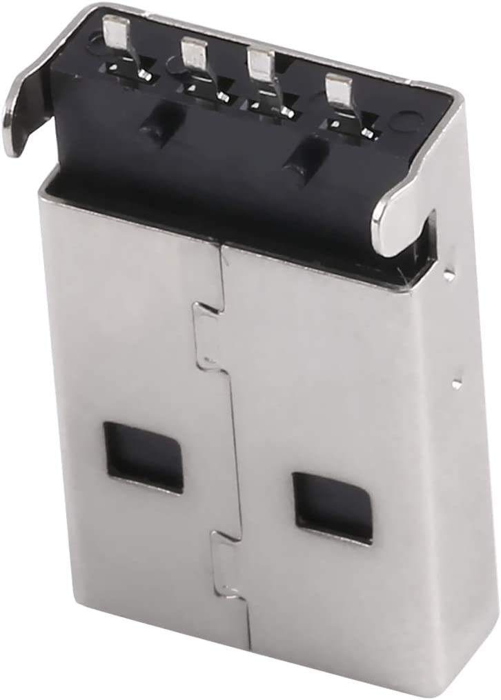 LIYUNSHU 50 PCS USB 2.0 AM SMT Socket Connector PBT Black Iron Case Electroplated Semi-tin 1u