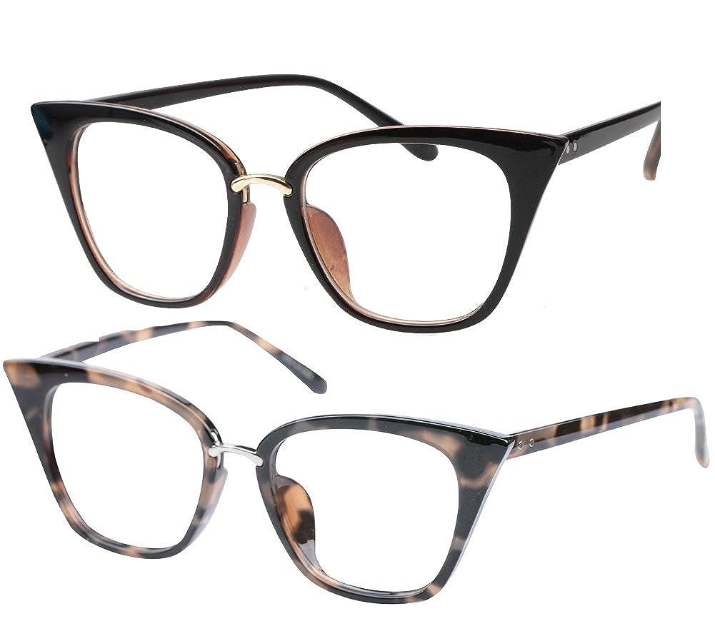 e8f5eb805d Amazon.com  SOOLALA Womens Quality Readers Stylish Oversized Cat Eye Custom  Reading Glasses (2 Pair Tea and Gray Leopard