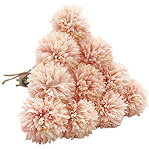 SHINE-CO LIGHTING Artificial Chrysanthemum Ball Flowers Hydrangea Bouquet 10pcs Present for Important People Glorious Moral for Home Office Coffee House Parties and Wedding (Champagne Pink) 14