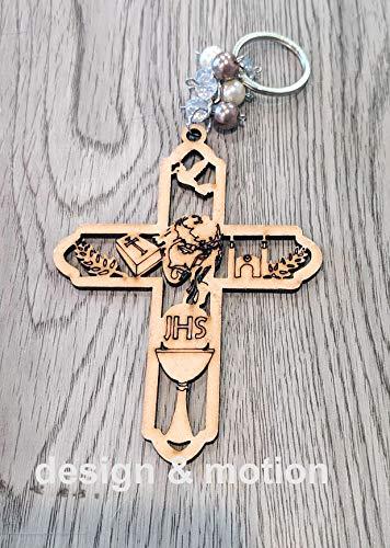 12 Piece pcs. Angel Jesus Virgin Mary Cross Baptism Wood Keychain Láser Laser Wood Cut Cutout Favor Recuerdo De Bautizo Angel Comunión Keepsake (Jesus Cross)