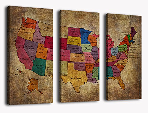 yearainn Canvas Wall Art US Map Painting Canvas Prints - Large 3 Pieces Vintage Canvas Art Map of America Rustic Contemporary Pictures Grunge Background For Home Office Decoration (Furniture Home 3 Office Piece)