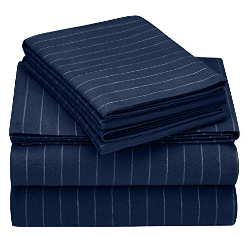 Pinzon 160 Gram Pinstripe Velvet Flannel Sheet Set - Queen, Navy Pinstripe