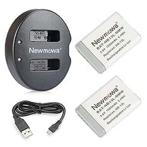 NB 13LNewmowa Batería de Repuesto (2-Pack) y Kit de Cargador Doble para Canon NB-13L, PowerShot G5X, G7X, G7 X Mark II, G9X, G9 X Mark II, G1 X Mark III, SX620 HS, SX720 HS, SX730 HS