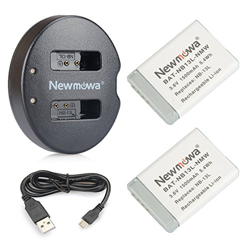 NB-13L Newmowa Battery (2 pack) and Dual USB Charger for Canon NB-13L and PowerShot G5X, G7X, G7 X Mark II, G9X, G9 X Mark II, G1 X Mark III, SX620 HS, SX720 HS, SX730 HS by Newmowa