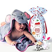 Cherry Baby Organic Baby Hooded towel with Free Animal Finger Puppets - Hypoallergenic, Super Soft and Absorbent Cotton - Cute Elephant Face Design - Perfect for Newborn, Infant & Toddler