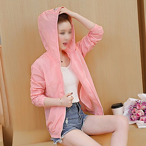 QFFL fangshaifu 夏の女性短い段落日の保護服/フード付き通気性薄い日の保護服/純粋な色の学生は出る抗UV野球制服(5色が利用可能) (色 : A, サイズ さいず : M)