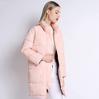 Amazon.com: Women Knee Length Pink Coat Camperas Mujer Abrigo Invierno Winter Jacket Female Overcoat: Clothing