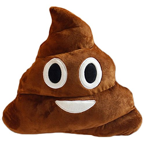 YOZATIA 32cm Poop Plush Pillow Cute Emoji Stuffed Cushion Soft Toy Gifts for Kids Children (Smile poop)