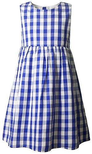 Ipuang Flower Girls' Casual Cotton Plaid Dress 8 Blue -