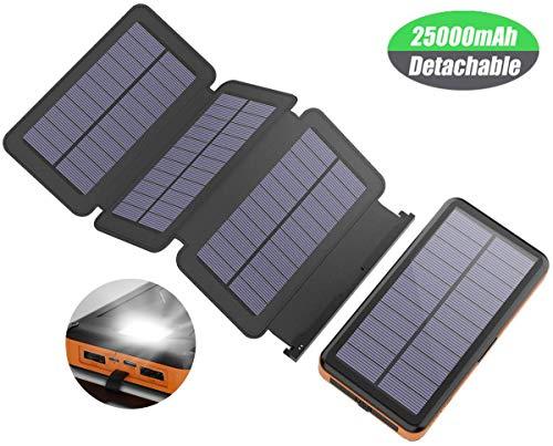 X-DRAGON Solar Powerbank 25000 mAh Solarladegerät con 4 Solarzellen, LED Taschenlampe y estanco batería externa para el…
