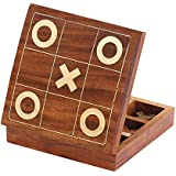Last Minute Deals Wood Tic Tac Toe XO Board Game 4.5 Inch Tick Tack Toe - Metal Noughts and Crosses Storage Rosewood Travel Box Set - Centerpiece Family Brain Game - Christmas Gifts for Kids