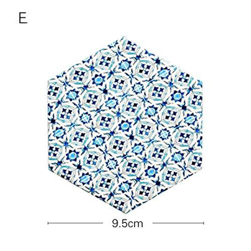 - love enjoy Table Placemat Coffee Cup Pad Coasters Hexagon Ceramic Cork Coaster Mat European White Black Geometric Art Desk Decor,E