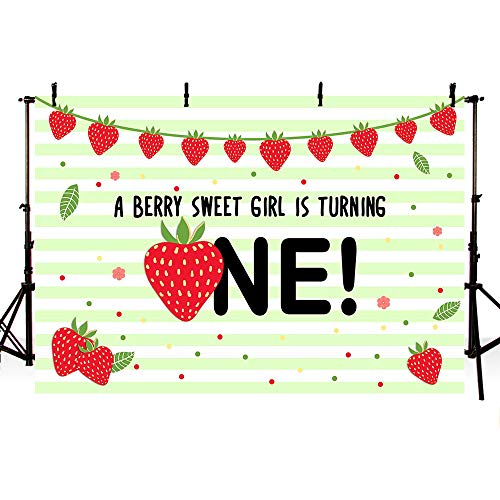 MEHOFOTO Strawberry First Birthday Party Photo Background Banner Berry Sweet Girl 1st Birthday Green Stripes Polka Dots Fruits Backdrops Props for Cake Table Supplies 7x5ft ()