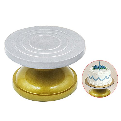 xlpace Cake Stand Art Clay Sculpture Pottery Swivel Plate Iron Forged Turntable Turnplate 11.8inch (Clay Turntable)