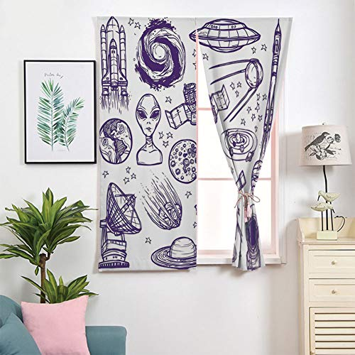 iPrint 3D Blackout Window Curtains,Free Punching Magic Stickers Curtain Portable,Paste Style,Space Graphic Satellite Orbit Radar Saturn,2 Panels,for Living Room