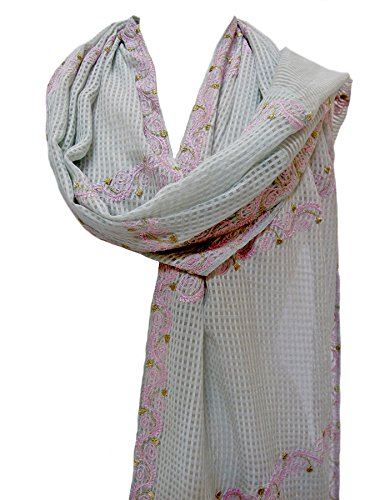 Floral Trellis Embroidered Sheer Silk Scarf Stole Shawl Wrap Mint Green ()