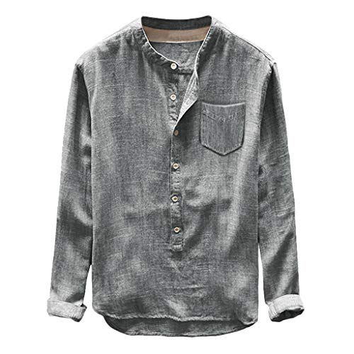 Toimothcn Mens Henly Shirts Casual Short&Long Sleeve Button Down Linen Cotton T-Shirt Tops(Gray,M)