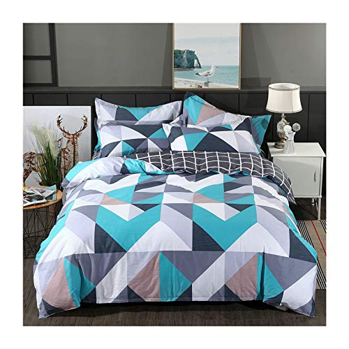 (KFZ 100% Organic Cotton Bedding, Full/Queen Size Duvet Cover Set, Teal Geometric Pattern 3 Pieces Bed Set with 1 Comforter Cover + 2 Pillowcases)