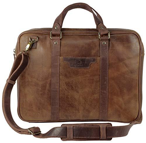 375b9ff326 Le Craf Bob Designer Stylish Sleek Premium Genuine Leather 14 inch Laptop  Briefcase Messenger Bag (except Apple Brand)