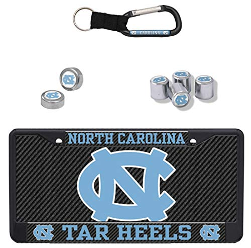 (Stockdale Bundle - 4 Items: North Carolina UNC Tar Heels Premium Carbon License Plate Frame & License Plate and 3 More Items)