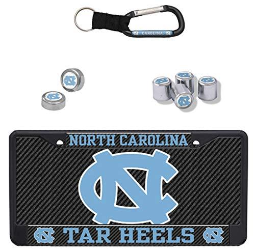 Stockdale Bundle - 4 Items: North Carolina UNC Tar Heels Premium Carbon License Plate Frame & License Plate and 3 More Items ()