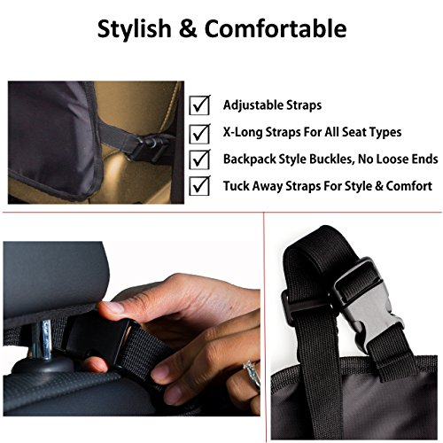 Superior Car Seat Back Protectors, Kick Mats With Organizer, 2 Pack with FREE GIFT - Best Backseat Protector, Universal Fit, Car Seat Covers - Must Have Car Accessories For Kids by Neelos Essentials (Image #2)