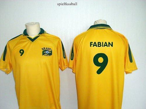 Spielfussballshop Brasilien Trikot mit Wunschname Nummer Erwachsenen Gr/ö/ßen