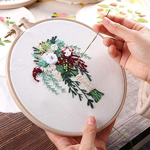 Konrisa 2 Pack Embroidery Starter Kit for Beginners Beautiful Flower Stamped Embroidery Kit with Pattern Adult Cross Stitch Kits Wedding Bouquet Decoration,with Embroidery Cloth Hoops Threads Needles
