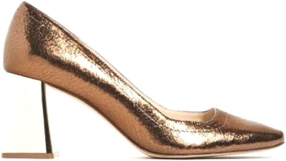 Gold Leather Pumps Metallic Block Heel