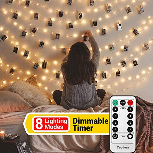 Toodour Photo Clips String Lights with Remote, 20 LED 10.33ft with 8 Lighting Modes Photo Hanging Fairy String Lights for Bedroom, Memorial Day, Wedding, Birthday Party Occasions Decor (Warm White) ()