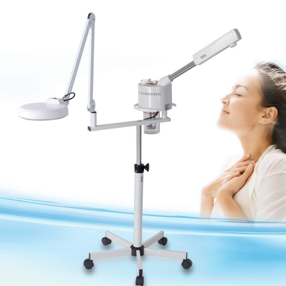 Gesichtssauna Ozon Kosmetik Bedampfer mit Lupenleuchte Dampfgerät für Gesicht Vapozon für Salon HeavenBird