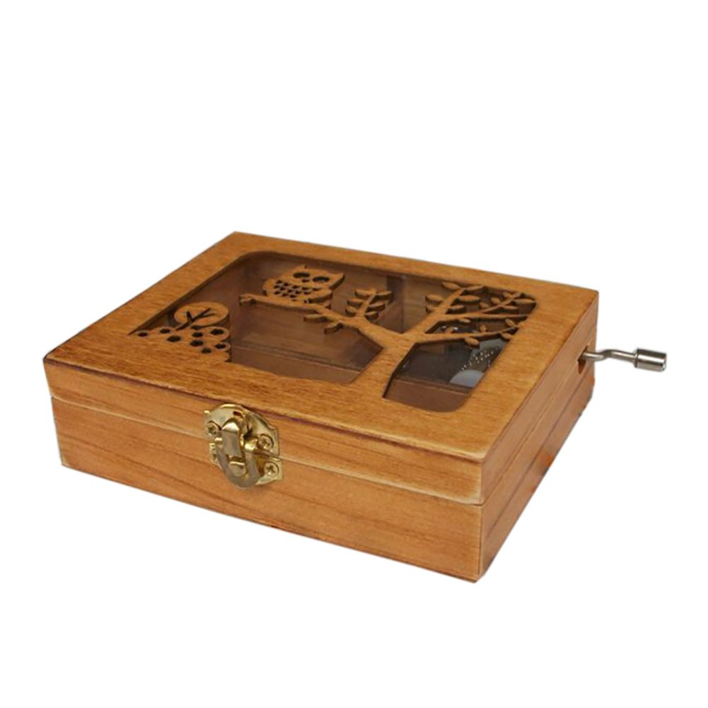 Balai Engraved Wooden Music Box With An Owl Engraved On Top Animal Hand Wind Up Mechanism Music Box
