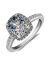 Lady 18k White Gold Gp AAA Zircon Swarovski Crystal Bridal Engagement Wedding Ring R24a