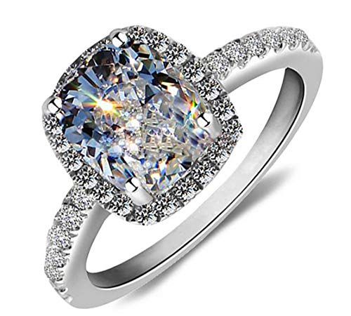 Ring 18k White Gold Gp Austria Crystal Lady Bridal Engagement R24a (6) ()