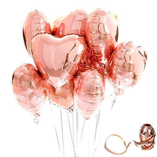 (Y wang 18inch Rose Gold Heart Balloons Foil Mylar Balloons Foil Rose GoldHeart Shaped Balloons Love Balloons for Wedding Birthday Party Decorations with Rose Gold)