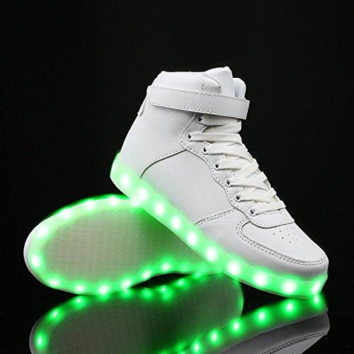 Vilocy 11 Colori Led Illuminano Scarpe Luminose Top Sneakers Lampeggianti Usb Ricaricabili Bianche