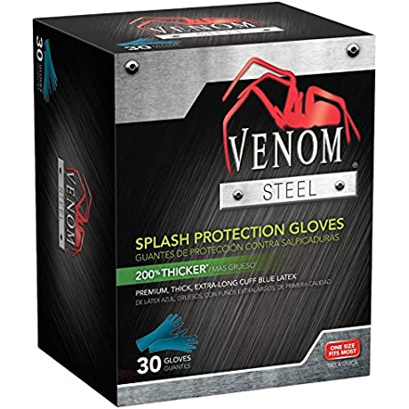 Medline Venom Steel Latex Gloves Splash Protection Blue