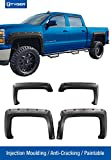 Tyger Auto TG-FF8C4118 For 2014-2017 Chevy Silverado (ONLY Fit Fleetside Models with 69.3'' Short Bed) | Paintable Smooth Matte Black Pocket Bolt-Riveted Style Fender Flare Set, 4 Piece