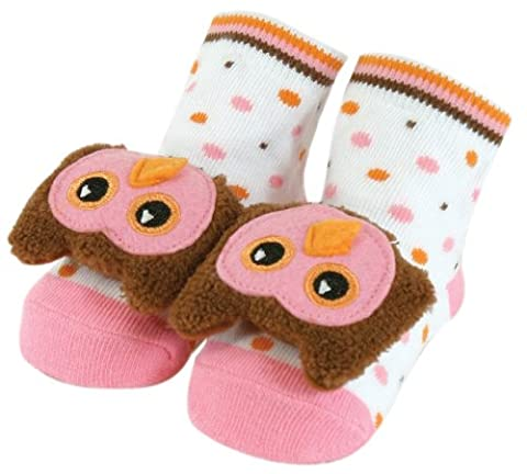 Stephan Baby Non-Skid Rattle Socks, Miss Hooty Owl, 6-12 Months (Booties With Rattles)