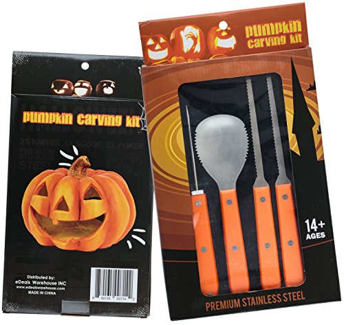 Professional Pumpkin Carving Kit - Heavy Duty Stainless Steel Tool Set