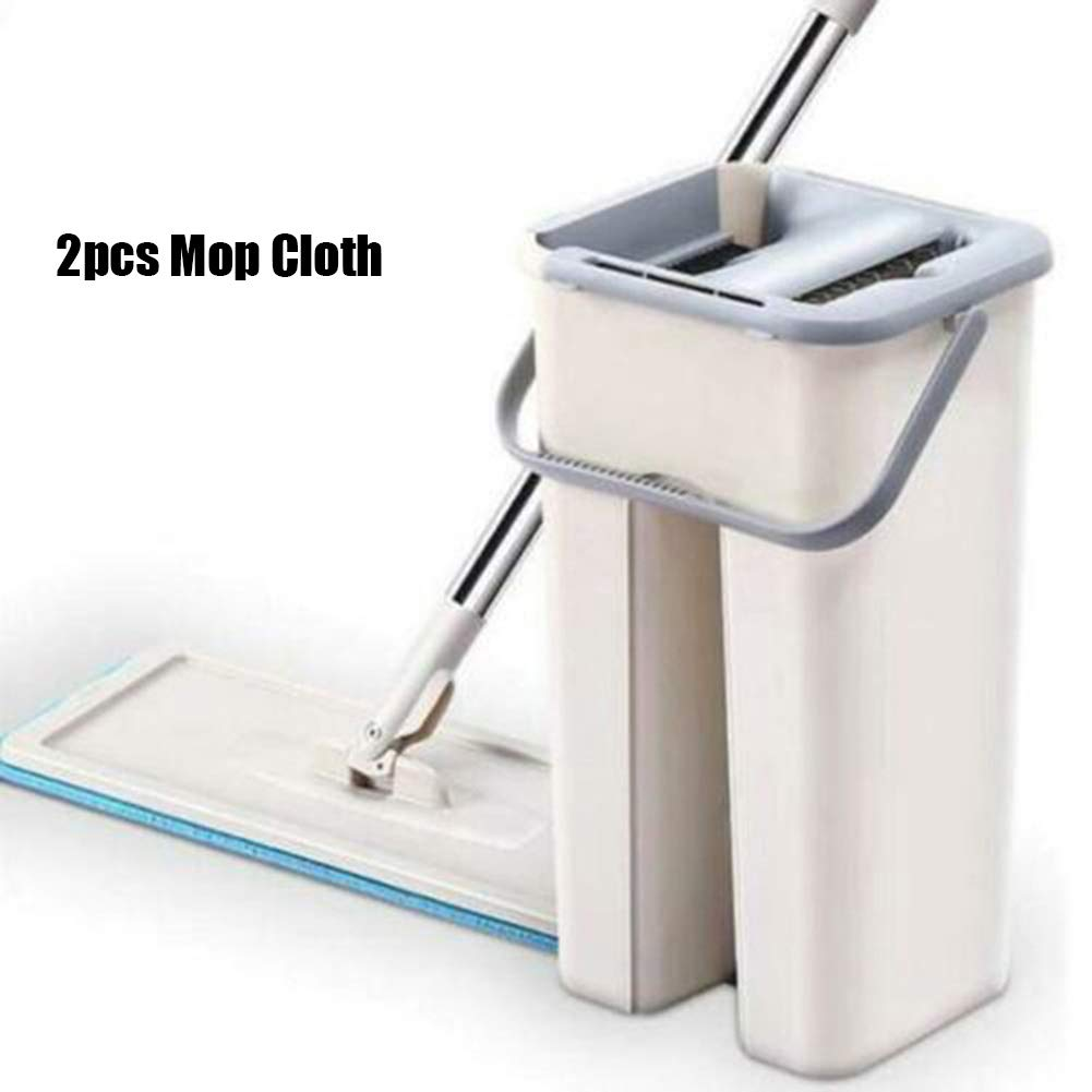 2pcs mop Cloth f/ácil de autoescurrir para Limpiar el Suelo Tecoto Juego de Cubos para fregona 2 en 1 se Puede Lavar en seco con Almohadillas Planas Reutilizables