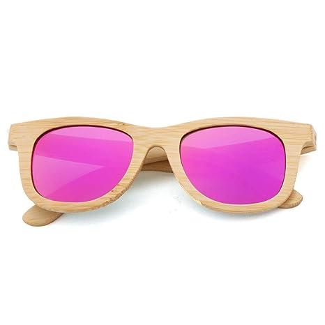 MJ-Sunglasses UV400 Gafas de Sol de Madera de bambú ...